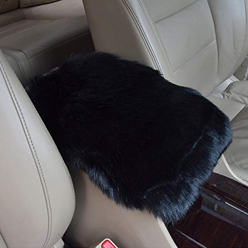 ASANDH Car Center Console Pad, Warm Plush Fluffy Armrest Pad (5.9 x11 inch) Seat Car Box Cover Protector for Most Vehicle, SUV, Truck (Black)