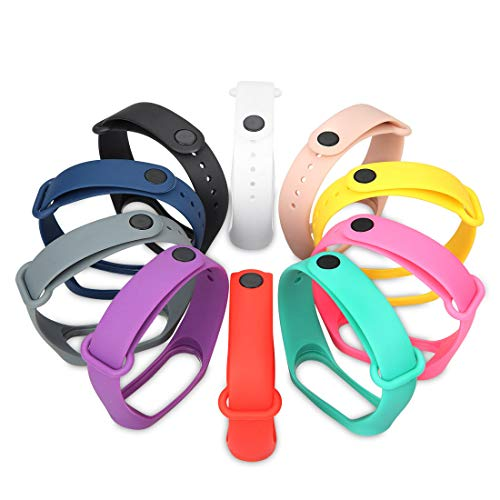 GinCoband 10PCS Sport Bands Replacement for Xiaomi Mi Band 4 and Xiaomi Mi Band 3 Smart Bracelet (10-Pack)