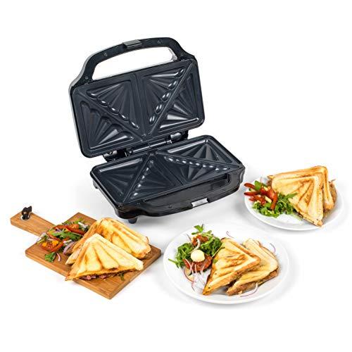 Progress® EK2017SP-VDE Tiefe Füllung Groß Toaster-Sandwich mit europäischem Stecker Antihaftplatten, 900 W, Cool Touch-Griff Und Rutschfeste Füße In Schwarz