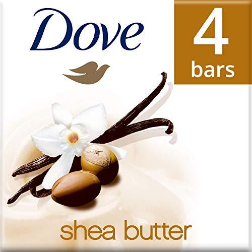 Dove jabón de baño exfoliante con karité y vainilla 4x 100g, juego...