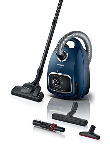 Bosch Staubsauger mit Beutel Serie 6 BGL6XSIL3, Bodenstaubsauger, ideal für Allergiker, Hygiene-Filter, für Parkett, Teppich, Fliesen, XXL-Polsterdüse, extra leise (69 dB), langes Kabel, 600 W, blau