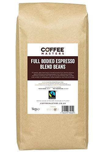 Coffee Masters Vollmundige Espresso Kaffeebohnen 1kg - Fairtrade