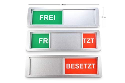 SynMe 1 GROßES FREI/BESETZT Schild XL 17,5x5cm - NEU:Verbaute Magnete im Rahmen halten Gebogene Metall-Schiebeeinheit in Position - Auch gut mit Ellenbogen bedienbar - 3M Qualitätsklebefläche