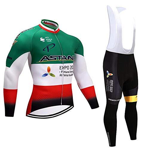 TOPBIKEB Conjunto Ropa Equipacion para Hombre, Mangas Largas Maillot Ciclismo Hombre+Culotte Ciclismo...