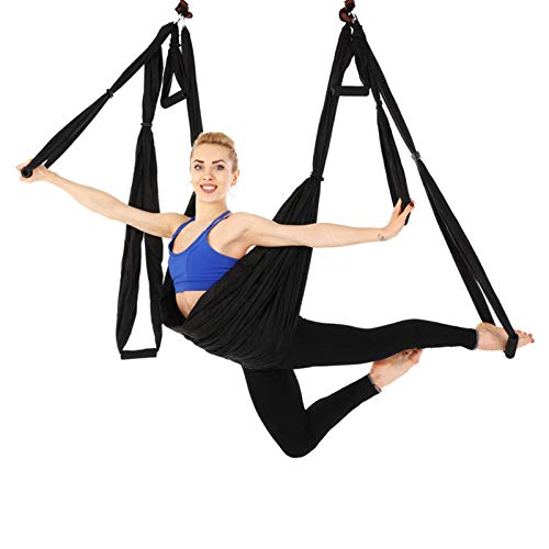 WOERD Aerial Yoga Swing Trapeze Hammock, Yoga Hammock Trapeze Sling Inversion Tool Aerial Silks, Inversion Exercise Equipment, Home Gym Fitnessblack