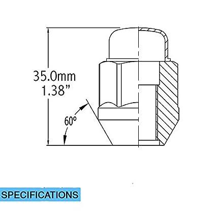"Chrome Cone Seat 7//16 Hex Wheel Lug Nut 13//16/"" 21mm Set of 20 Lug Nut Closed End Bulge Acorn Lug Nuts 1.38/"" Long"