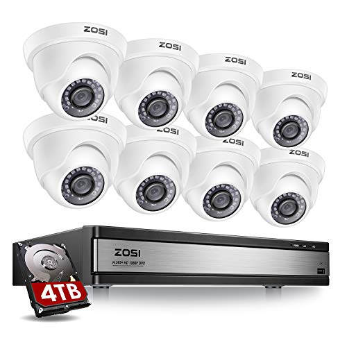 ZOSI H.265+ 1080p 16 Channel Security Camera System,16 Channel CCTV DVR with Hard Drive 4TB and 8 x 1080p Indoor Outdoor Dome Camera, 80ft Night Vision, 105 View Angle, Remote Control, Alert Push