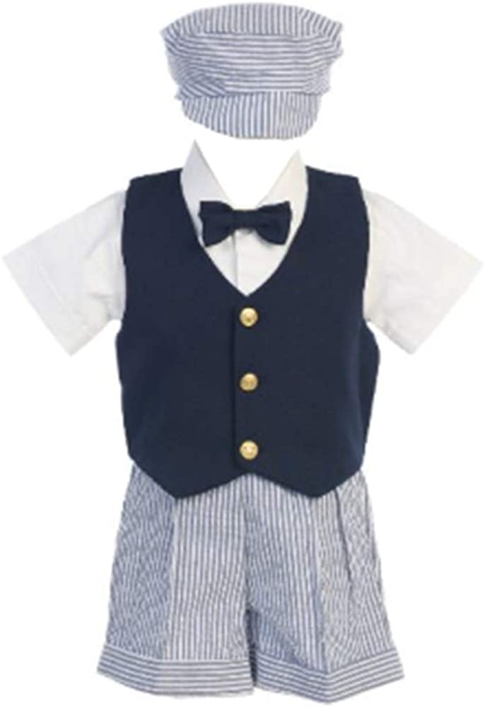 Seersucker Outfit w/Navy Vest - Shorts, Shirt, Tie and Hat - Made in USA