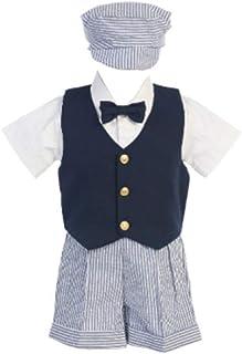 Seersucker Traje w/azul marino chaleco–Pantalones cortos, camisa, corbata y sombrero–fabricadas en Estados Unidos