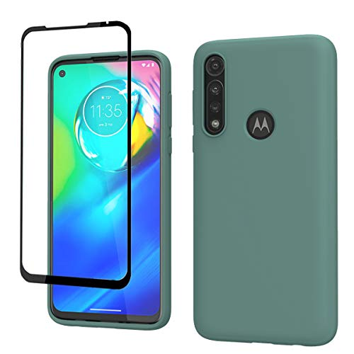 Weycolor Moto G Power Case, with Tempered Glass Screen Protector [2 Pack], Liquid Silicone Slim Soft Fit Drop Protection Case for Moto G Power (Blackish Green)