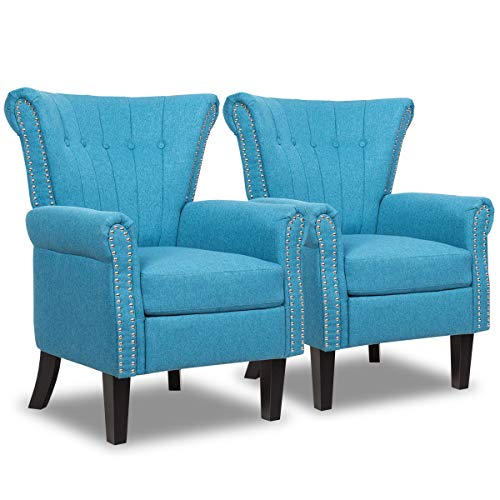 Giantex Set of 2 Fabric Accent Chairs, Mid Century Button Tufted Accent Arm Chair w/Adjustable Foot Pads & Nailhead Trim, Comfy Club Chair for Living Room, Bedroom, Office (2, Blue) -  GT2*64458LS-HW