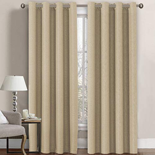 Linen Curtains Room Darkening Light Blocking Thermal Insulated Heavy Weight Textured Rich Linen Burlap Curtains for Bedroom / Living Room Curtain, 52 by 84 Inch - Beige (1 Panel)