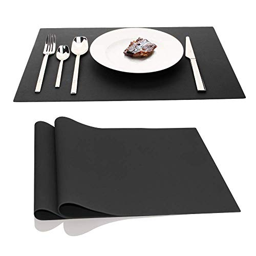 AINIMI Large Silicone Mats Table Mats Placemats,17.7'x12.6' Inches, Set of 2 (Black)