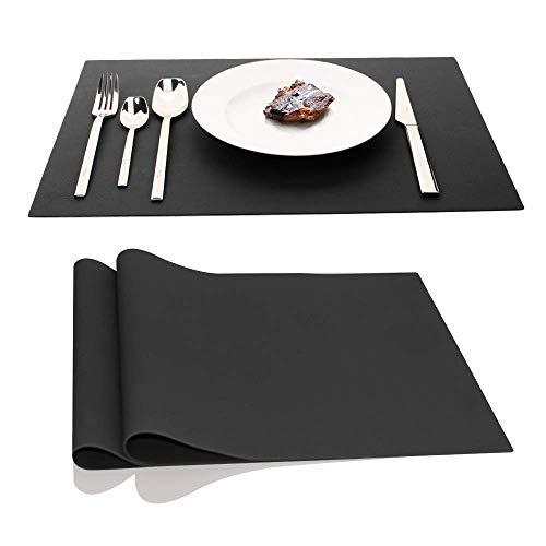 AINIMI Manteles individuales grandes de silicona de 45 x 32 cm, juego de 2 unidades (negro)