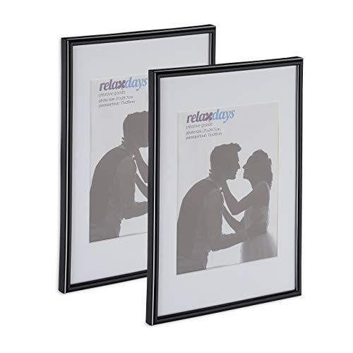 Relaxdays Bilderrahmen 2er Set, Din A4, Passepartout 15x20 cm, Glasscheibe, Fotorahmen zum Stellen & Hinhängen, schwarz