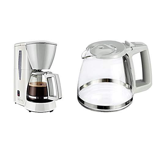 Melitta M720-1/1 Single5 M 720-1/1, Filterkaffeemaschine für kleine Haushalte, Filter-Kaffeemaschine, Kunststoff, 1.2 liters, Glaskanne Weiß/Grau & Single Typ 120 Glaskanne 5, weiß
