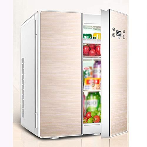 Rindasr Temperatuurverstelbare mini-koelkast, dubbele deur, kleine koelkast, 25 liter grote capaciteit, koeling en warmte-onderhoud, compacte koelkast, slaapzaal, buitenkoelkast goud