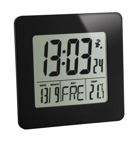 TFA Dostmann Cyfrowy budzik radiowy, 60.2525.01, z temperaturą, wyświetlanie dnia tygodnia i daty, z alarmem budzika, czarny