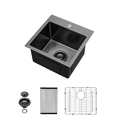 Black Drop In Bar Sink - Sarlai 15 Inch Bar Sink Drop In Topmount Gunmetal Black Stainless Steel 16 Gauge Single Bowl Drop Bar Prep RV Kitchen Sink