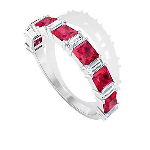 Rosec Jewels 10 quilates oro blanco talla princesa baguette-shape H-I Red Diamond Ruby