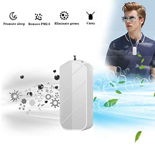 HUA JIE Luftreiniger Mit Ionisator,USB Portable Persönliche Tragbarer Halskette,perfekt Gegen Staub Und Haustier-allergene, Für Allergiker, Raucher, Asthma,Weiß
