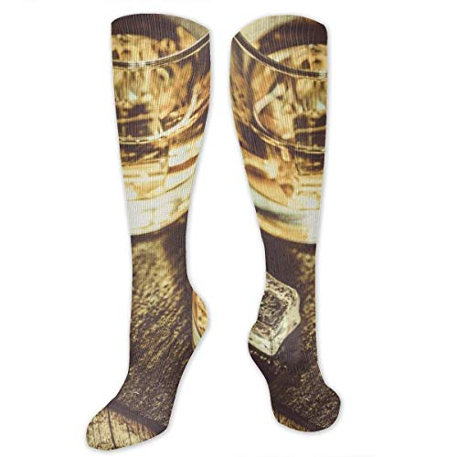 Socks for Women & Men 1 Pairs is Best Graduated Athletic,Running,Flight,Travel,Nurses,Whiskey With Ice In Glasses, Rustic Wood Background, Copy Space,19.68 inch