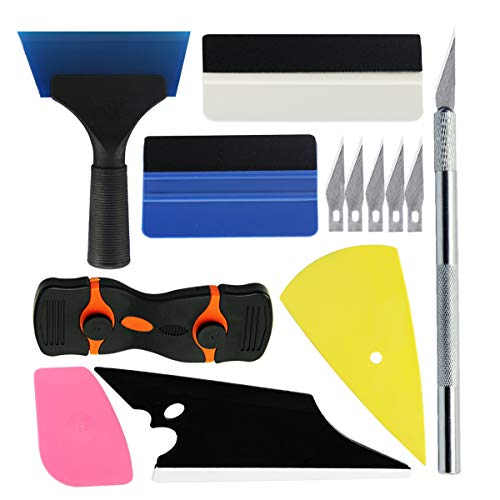 YXGOOD Car Window Tint Application Tools Kit, 8 Pcs Vehicle Glass Protective Film Installing Tool Car Window Film Squeegee Automotive Film Scrapers Window Tint Tools (8)