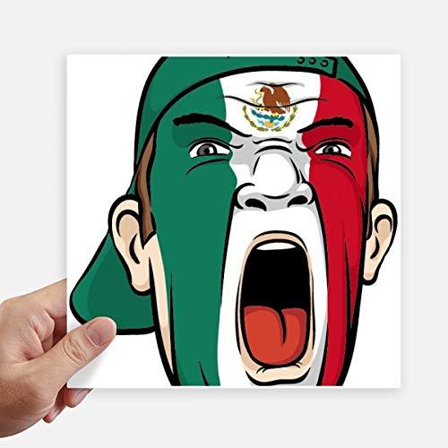 DIYthinker Mexico Vlag Facial Make-up Masker schreeuwen Cap Vierkante Stickers 20Cm Muur koffer Laptop Motobike Decal 4 Stks