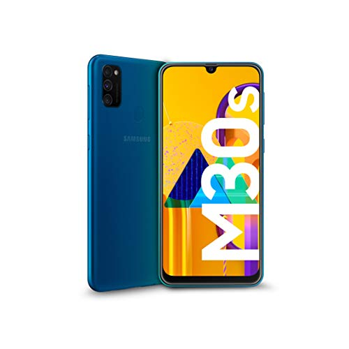 "Samsung Galaxy M30s Smartphone, Display 6.4"" Super AMOLED, 64 GB Espandibili, RAM 4 GB, Batteria 6000 mAh, 4G, Dual SIM, Android 9 Pie  [Versione Italiana], Blue"