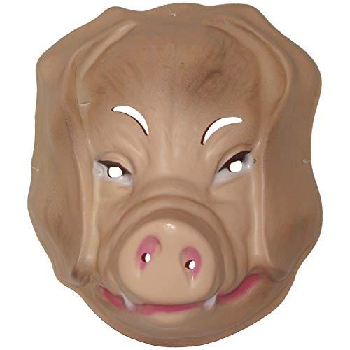 Tiermaske Schwein zum Aufsetzen Plastik Maske Schweinemaske Schweinsmaske Mask