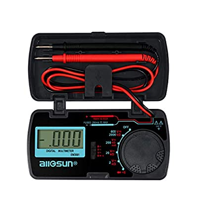 ALLOSUN Digital Multimeter/DMM/Multi Tester Amp/Ohm/Volt Meter/Diode and Continuity Test Pocket Size