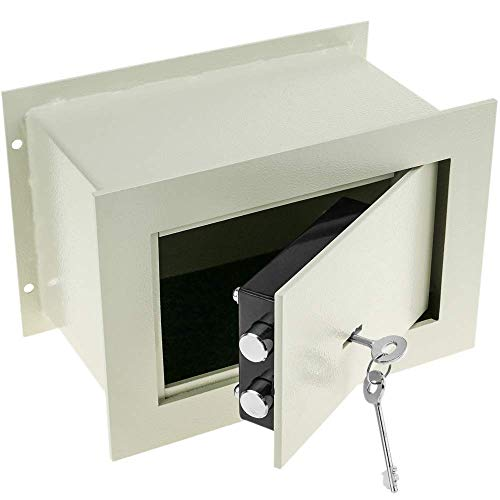 PrimeMatik - Versenkt Wandtresor Stahl mit Schlüssel Mauertresor Möbeltresor Wandeinbautresor 26x15x18cm Beige