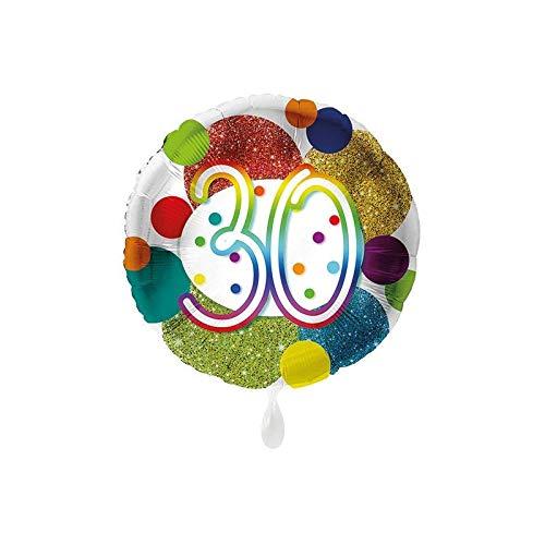Luftballon Markt 1 Folienballon 30 Geburtstag Punkte bunt rund ca.45 cm ungefüllt Ballongas geeignet