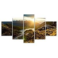 YIYYI キャンバスペインティング5, ポスタープリント5ピースライジングサンマウンテンリバーウォールArtcanvasアートペインティングウォール写真リビングルーム用