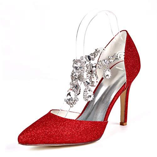 LGYKUMEG Schuhe Hochzeit Damen,Brautschuhe, Damen Riemchen Blockabsatz,Spitz Sandalen Slingback Kitten Absatz Pointed Toe Pumps,03,EU38