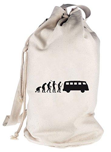 Shirtstreet24, EVOLUTION KULT BUS, bedruckter Seesack Umhängetasche Schultertasche Beutel Bag, Größe: onesize,natur