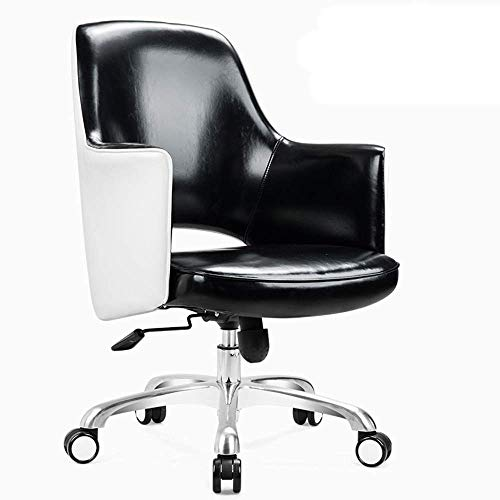 Comif- Fauteuil Lounge en Cuir imperméable, Fauteuil pivotant élégant, Dossier en Forme de U/Design Ergonomique, Tapis de Haute résilience (Bleu, Brun, Noir)