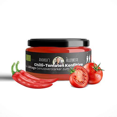 BIO Chilli-Tomaten Konfitüre zum Dippen & Verfeinern mit frischen Zutaten in Handarbeit gefertigt - Made in Germany von SANUUS (120g)