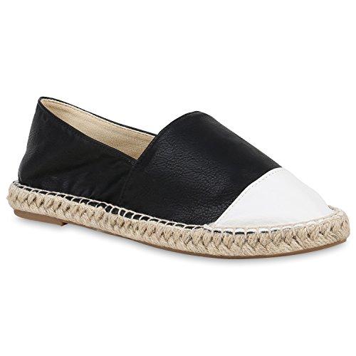 stiefelparadies Damen Slippers Bast Espadrilles Flats Leder-Optik Freizeit Schuhe 153542 Weiss Schwarz Bast 36 Flandell