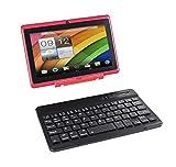 Tablette Tactile Ecran 7 Pouces, Tablet PC avec Clavier(AZERTY) Android Quad Core Ordinateur Portable, 8Go ROM, Double Caméras, WiFi, Bluetooth (Rouge)