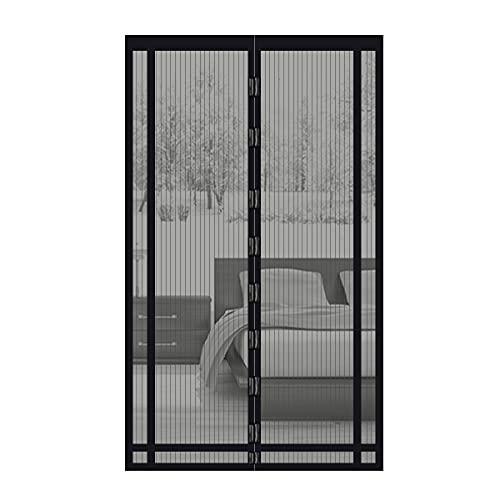 Sekey 220x130 cm magnético cortina para protección contra insectos, magnético Mosquitera para puerta para balcón, sótano Puerta, terrazas para puerta (se puede cortar en altura y ancho), Negro