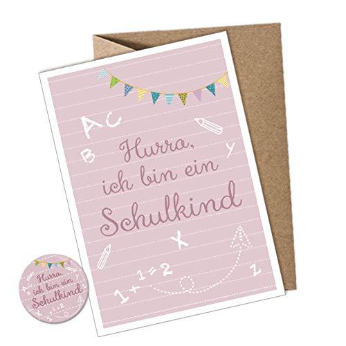 BUTTON SET + POSTKARTE ABC Schule Schulanfang HURRA ICH BIN EIN SCHULKIND ROSA GIRLANDE • Geschenk...