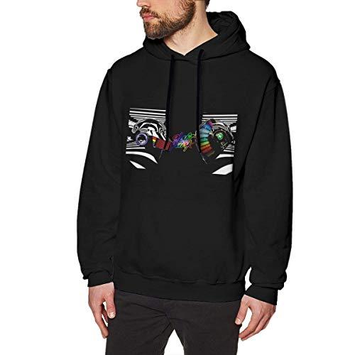 Felpa con cappuccio da uomo classica a maniche lunghe pullover confortevole traspirante con cappuccio MacTshirt Daft-Punk Nero 2XL