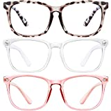 Blue Light Blocking Glasses-3Pack Computer Game Glasses Square Eyeglasses Frame, Blue Light Blocker Glasses for Women Men (MT8068douhua+Transparent+Pink)