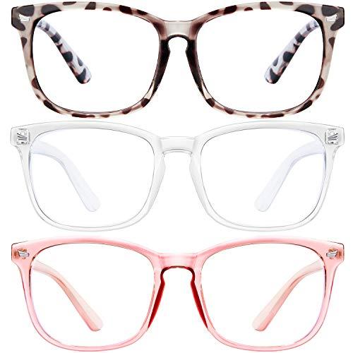 Blaulicht-blockierende Brille, 3 Stück, Computerspielbrille, quadratischer Brillenrahmen, Blaulicht-Blocker-Brille für Damen und Herren (MT8068douhua+transparent+pink)