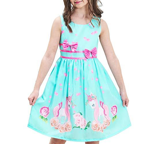 Vestido para niña Verde Unicornio Flor Verano Sol 7-8 años