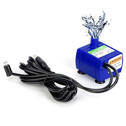 Haustier Wasserpumpe,Ersatzpumpe Trinkbrunnenpumpe für 2,4L Automatischer Katzenbrunnen, DC5V 2W verbrauchsarme pumpe mit LED-Licht, 5,9ft Kabel, Super Stille