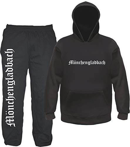 sostex Mönchengladbach Jogginganzug - Altdeutsch - Jogginghose und Hoodie S Schwarz