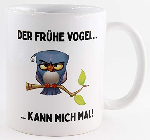 PICSonPAPER Tasse mit Spruch Der frühe Vogel kann Mich mal, Kaffeetasse, Keramiktasse, Tasse mit lustigem Spruch