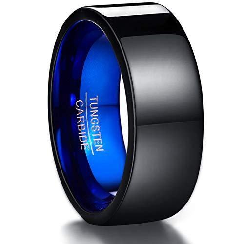 Vakki - Anillo de boda de carburo de tungsteno negro y azul de 10 mm para hombre, talla 36 - 38